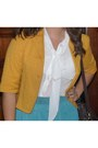 Orange-mustard-blazer-brown-boots-dark-brown-bag-white-blouse