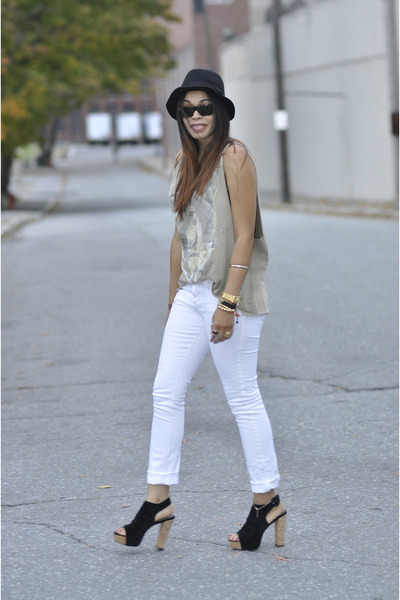 black H&M hat - camel thrifted shirt - white Forever 21 pants