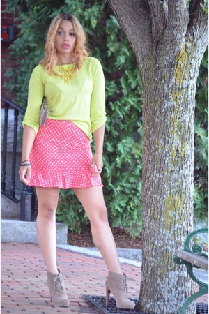 pink DIY skirt - tan RoseGold boots - lime green Old Navy sweater