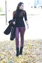 black vintage coat - crimson H&M pants - black Forever 21 top