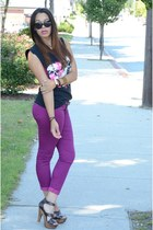 magenta Target pants - Charlotte Russe heels - thrifted top - Ebay ring