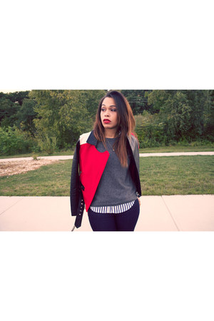 navy Express jeans - red Express jacket - heather gray Forever 21 sweater