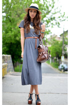 gray nowIStyle dress - beige H&M hat - brown Mango bag