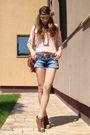 Pink-zara-blouse-blue-random-shorts-brown-mango-purse-brown-random-brand-s