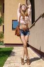 Pink-zara-blouse-blue-random-shorts-brown-mango-purse-brown-random-brand-s