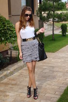 white Mango top - gray Mango skirt - black tnt belt - black Zara shoes - black r