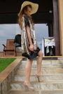 Beige-custom-made-dress-beige-bershka-hat-black-random-bag-accessories-bei
