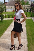 white Mango t-shirt - black custom made skirt - brown random Ilalian accessories
