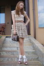 Beige-mango-top-beige-custom-made-skirt-beige-custom-made-belt-brown-vinta