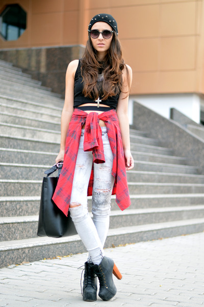 black Front Row Shop top - red nowIStyle shirt
