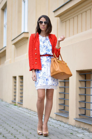 red Zara blazer - sky blue Sheinside dress