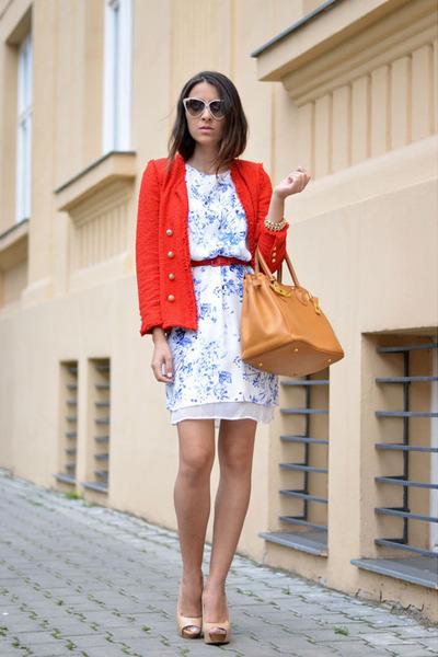 red Zara blazer - sky blue Sheinside dress
