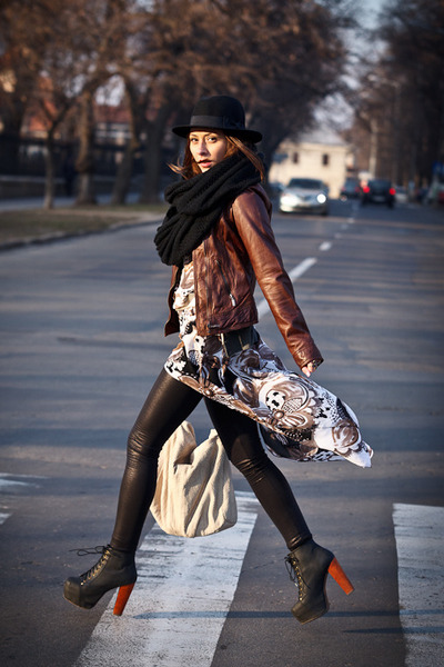 dark brown Bershka jacket - black Jeffrey Campbell boots