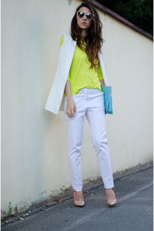 chartreuse Front Row Shop top - white Zara pants - beige Mart of China pumps