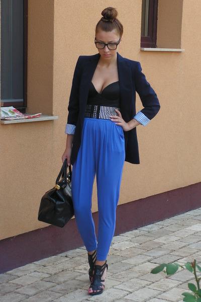 blue random brand pants - black Jolidon romanian brand top - blue Zara blazer -
