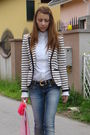 White-zara-blazer-white-custom-made-shirt-blue-pull-bear-jeans-pink-bought