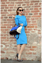 blue OASAP dress - blue PERSUNMALL bag - black Mart of China pumps