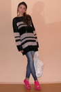 Black-zara-sweater-blue-newyorker-leggings-white-zara-accessories-pink-zar