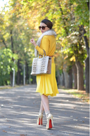 yellow designed by me dress - brown random brand bag - brown H&M sunglasses