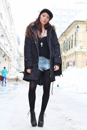 black Jeffrey Campbell boots - black nowIStyle coat - black OASAP hat