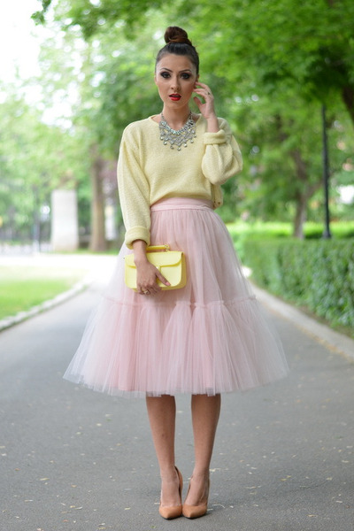 yellow thrifted sweater - light pink custom made skirt