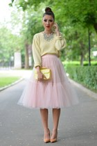 yellow thrifted sweater - light pink custom made skirt
