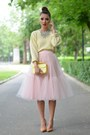Yellow-thrifted-sweater-light-pink-custom-made-skirt