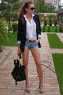 blue Zara blazer - beige Mallanee shoes - white Zara shirt - blue DIY shorts