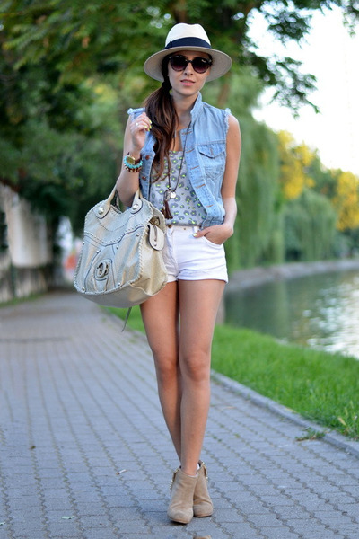 beige Guess bag - white Zara shorts - heather gray nowIStyle top