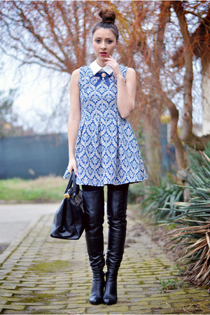 black Mono boots - blue Sheinside dress