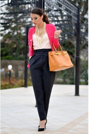 black Zara pumps - hot pink nowIStyle cardigan - gray thrifted pants
