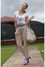 White-berska-t-shirt-beige-zara-pants-beige-musette-accessories-purple-ran