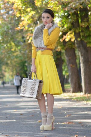 yellow designed by me dress - beige random brand bag