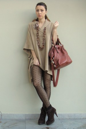light brown poncho H&amp;M coat - dark brown Zara boots - black H&amp;M tights