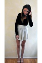 light blue H&M skirt - black asos bodysuit - neutral Misguided wedges