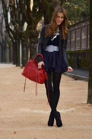 navy dress - black jacket - red bag - violet belt