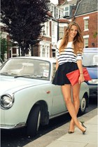 navy Topshop skirt - ruby red handmade purse - white H&M jumper