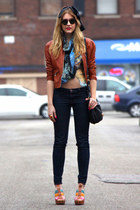 black jeans - burnt orange leather jacket - navy bag - sky blue blouse - Zara we