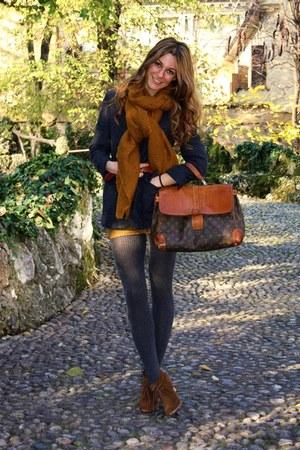 dark brown shoes - burnt orange dress - navy blazer - dark gray tights - burnt o