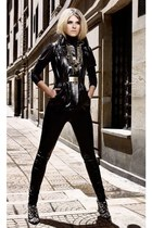 black leather jacket - black leather leggings - gold belt - gold accessories - c