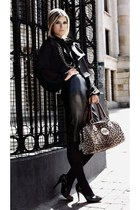 black coat - leopard printed bag - black knee-high skirt - black heels - black b