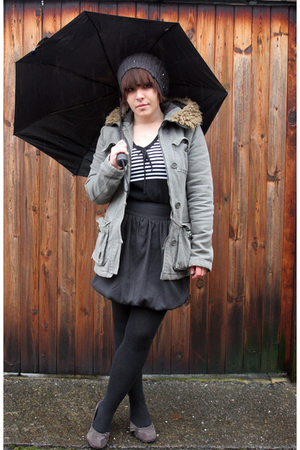 Vintage Parka coat - warehouse shirt - Laura Ashley top - The office shoes