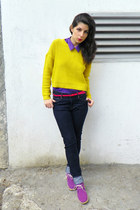 yellow H&M jumper - navy H&M jeans