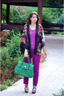 Teal-nissa-bag-purple-h-m-cape-magenta-zara-pants
