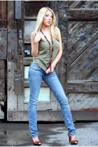 hollister jeans - green Diesel top - brown Jessica Simpson shoes - vintage neckl