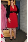 Red-handmade-dress-black-h-m-cardigan-black-new-look-wedges
