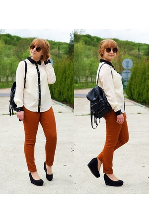 white Vero Moda shirt - black Topshop bag - burnt orange H&M pants