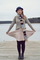 tan sweater - black boots - eggshell skirt