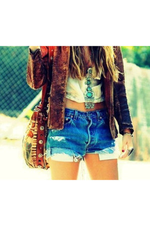 jean shorts shorts - dark brown jacket - white top