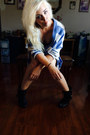 Black-ankle-boots-rue-21-boots-navy-denim-shorts-black-tank-mossimo-top